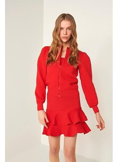 Join Us Fermuarlı Triko Ceket Kırmızı